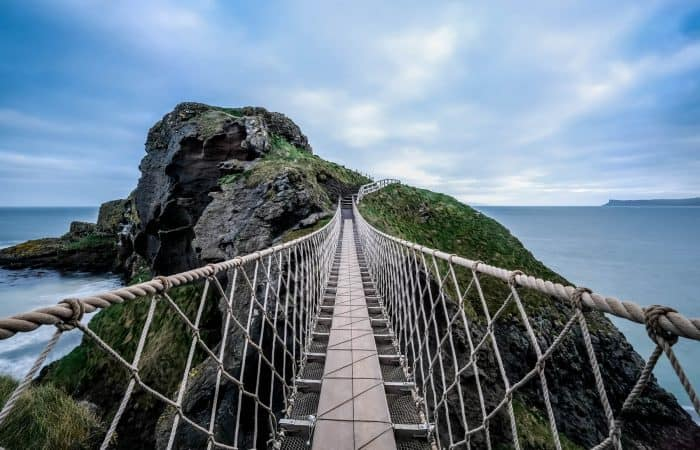 Looking across the walk way on the Carrick-A-Rede Rope Bridge on Northern Ireland's Antrim Coast