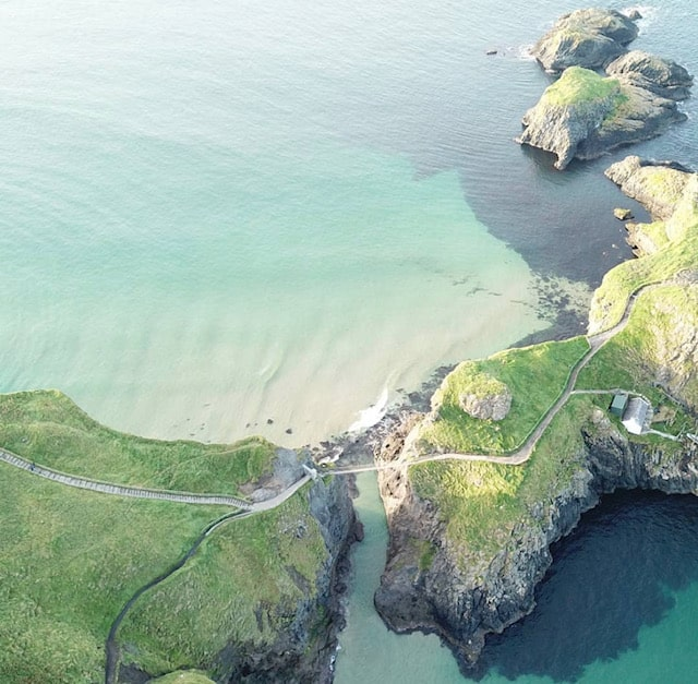 Drone shot of carrick a rede rope bridge