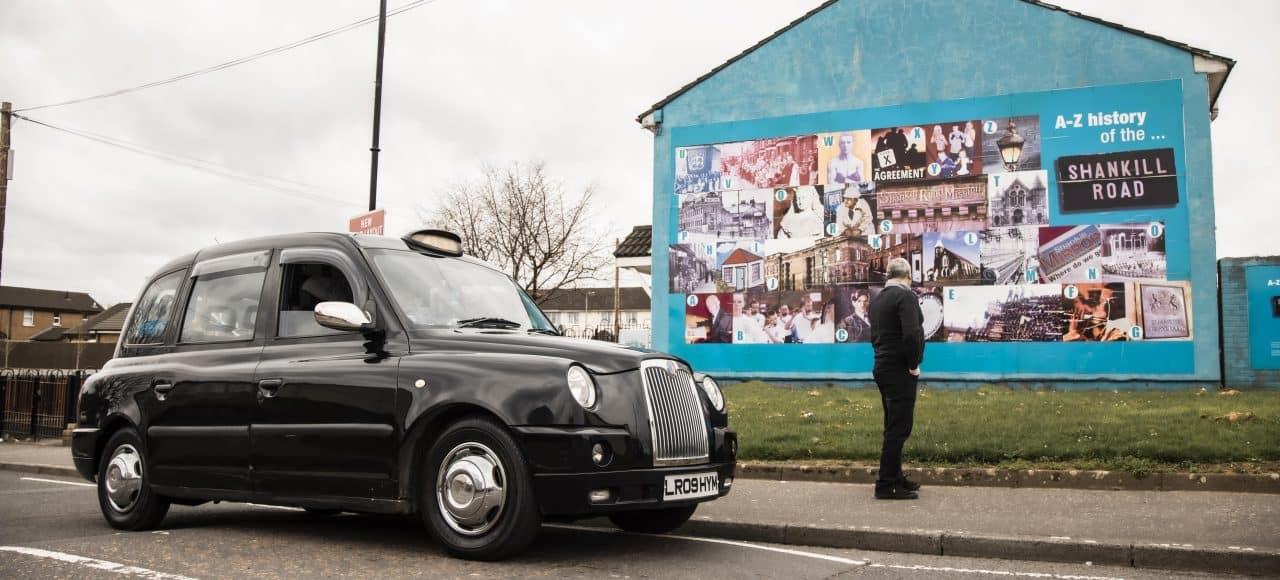 A to Z Shankill History Mural with Belfast Black Taxi Tour Driver